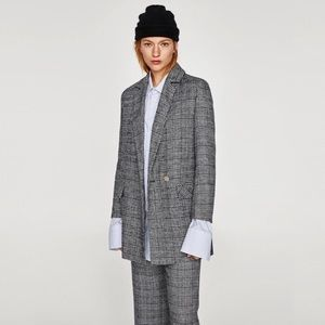 Zara Glen Check Coat Jacket Double Breasted Gray